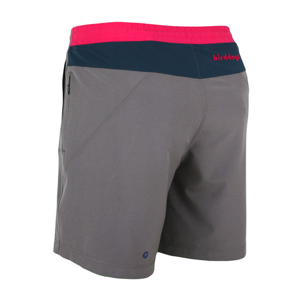 Birddogs Silver Tongues Gray Navy Pink Gym Shorts Pink Liner Back Left Angle