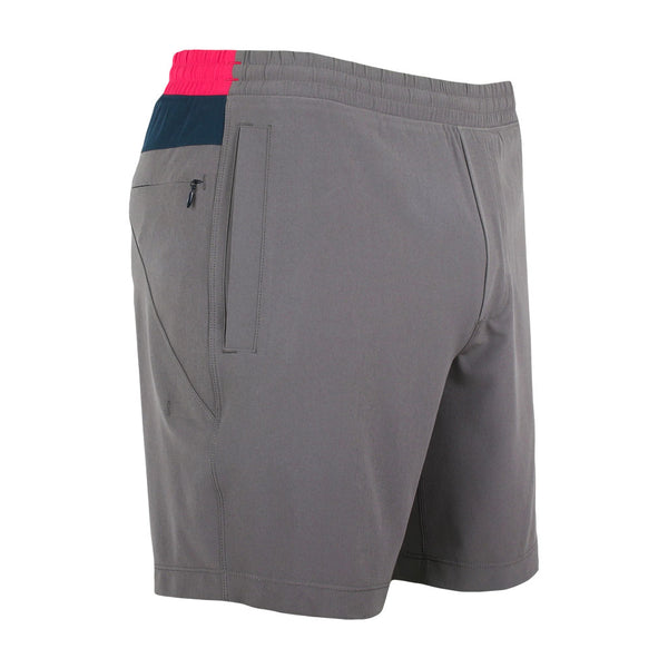 Birddogs Silver Tongues Gray Navy Pink Gym Shorts Pink Liner Front Right Angle