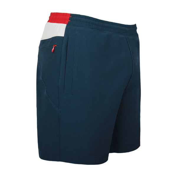 Birddogs Swipe Rights Navy White Red Gym Shorts Red Liner Front Right Hip