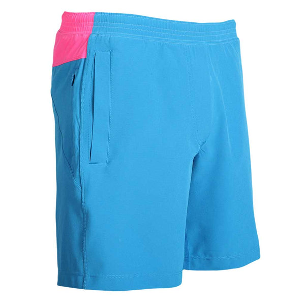 Birddogs The Carltons Blue Gym Shorts Hot Pink Liner Front Right Angle