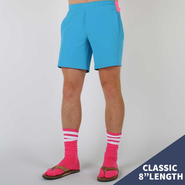 Birddogs The Carltons Blue Gym Shorts Hot Pink Liner Model Size Medium Classic 8""