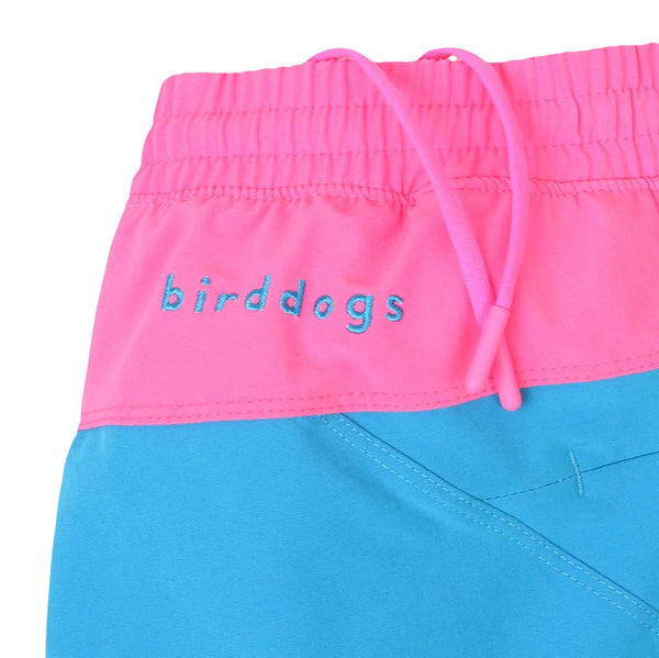 Birddogs The Carltons Blue Gym Shorts Hot Pink Liner Waistband