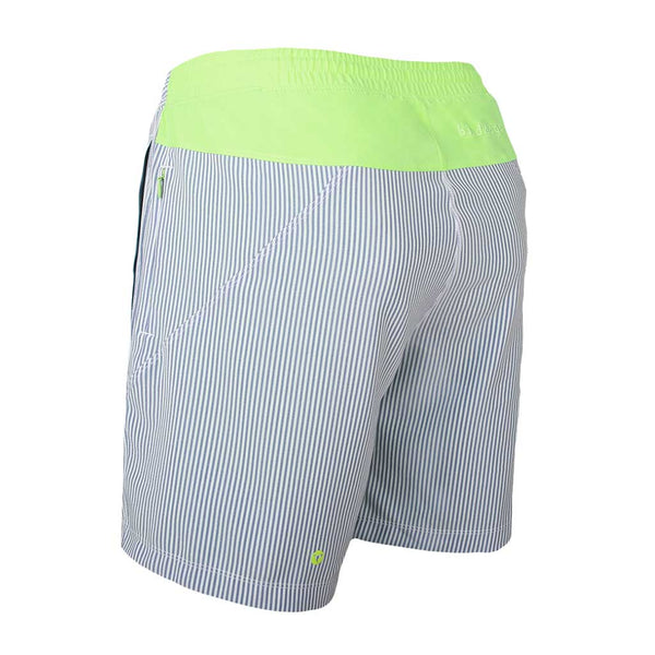 Birddogs The Hornets Blue Seersucker Gym Shorts Mint Green Liner Back Left Angle
