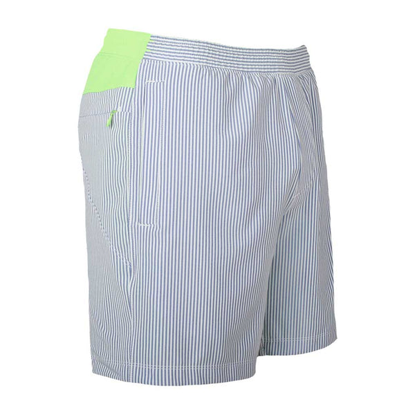 Birddogs The Hornets Blue Seersucker Gym Shorts Mint Green Liner Front Right Angle