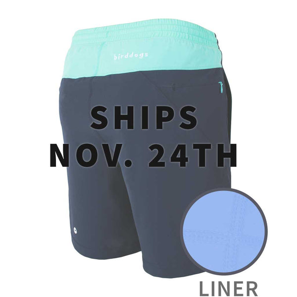Birddogs The Kerfuffles Navy Light Turquoise Gym Shorts Lavender Purple Liner Main Preorder Date