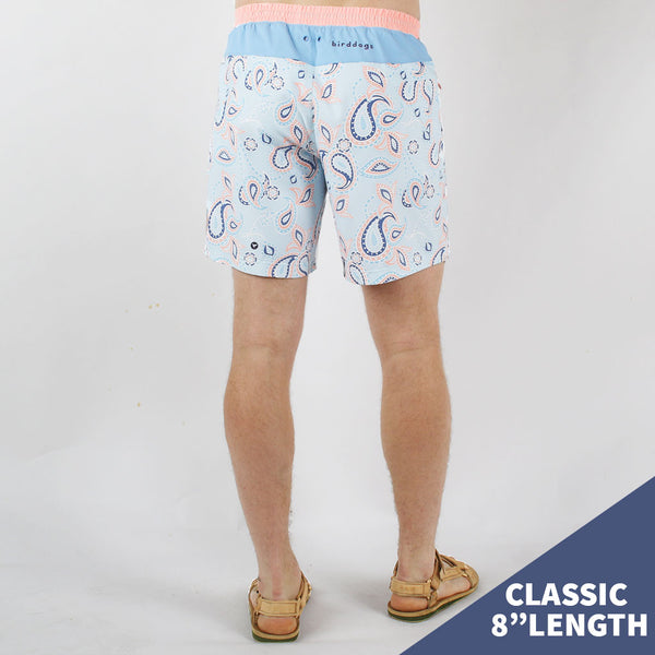Birddogs The Mermans Paisley Light Blue Pink Waterproof Gym Shorts White Liner Model Size Medium Classic 8""