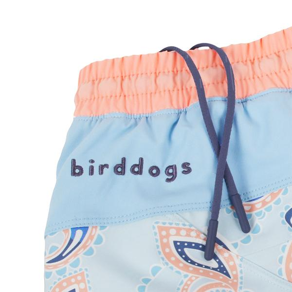 Birddogs The Mermans Paisley Light Blue Pink Waterproof Gym Shorts White Liner Waistband