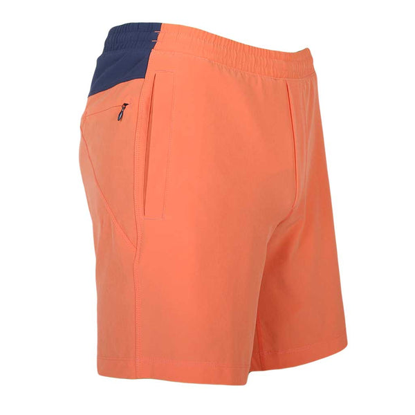 Birddogs The Salmon of Capistrano Salmon Orange Navy Gym Shorts Navy Liner Front Right Angle