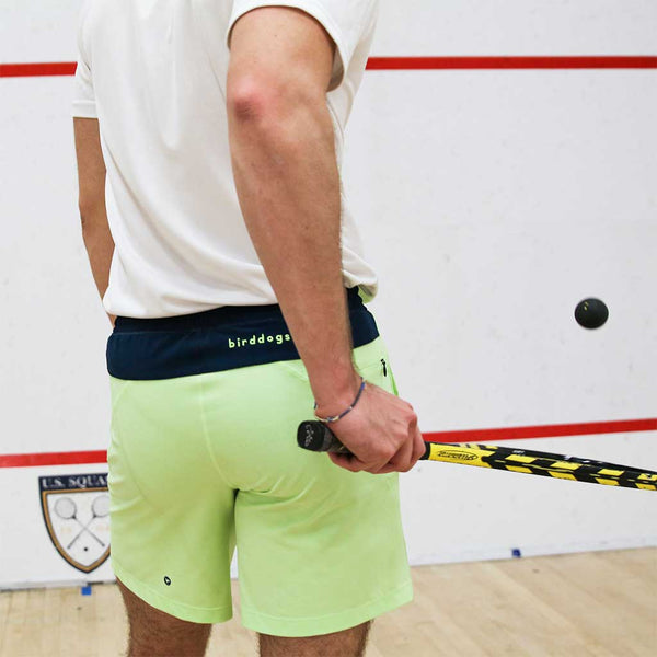 Birddogs The Thrusters Mint Green Navy Gym Shorts Navy Liner Lifestyle Squash Standing