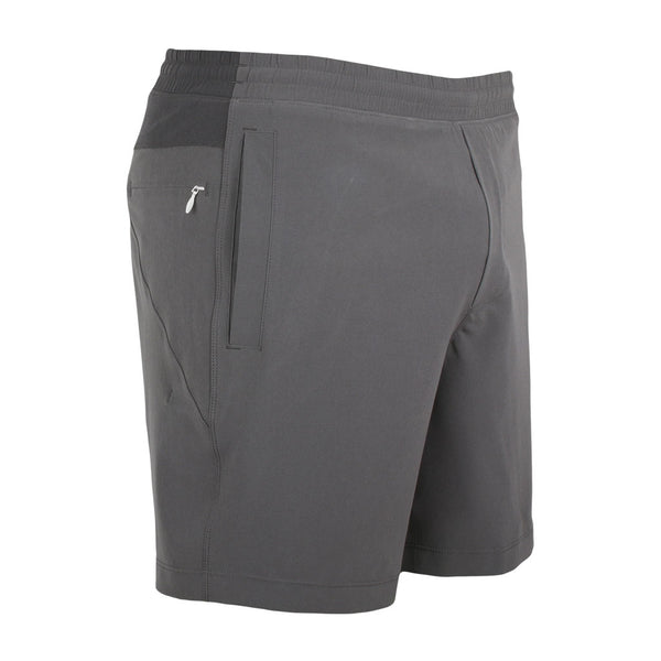 Birddogs Tightwads Gray Dark Gray Gym Shorts Light Blue Liner Front Right Angle
