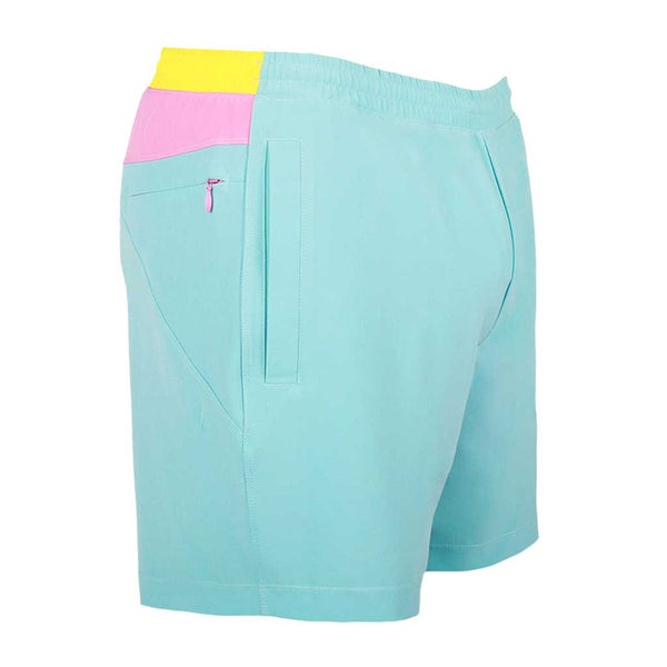 Birddogs Tony Softnuts Light Blue Light Pink Yellow Gym Shorts Light Pink Liner Front Right Angle