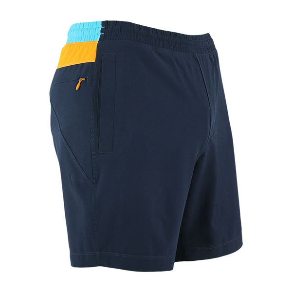 Birddogs Tropical Thunders Navy Yellow Blue Gym Shorts Yellow Liner Front Right Hip