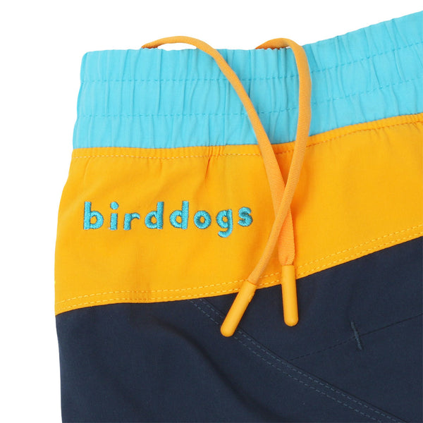 Birddogs Tropical Thunders Navy Yellow Blue Gym Shorts Yellow Liner Waistband