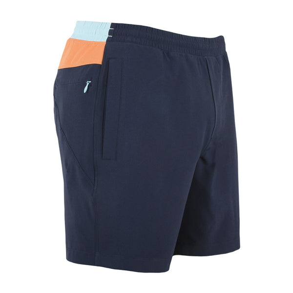 Birddogs Measley Petes Navy Orange Light Blue Gym Shorts Orange Liner Front Right Hip