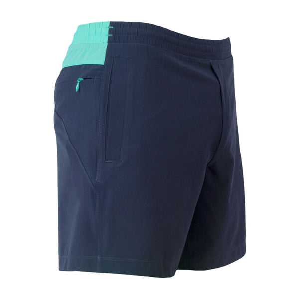 Birddogs The Kerfuffles Navy Light Turquoise Gym Shorts Lavender Purple Liner Front Right Hip