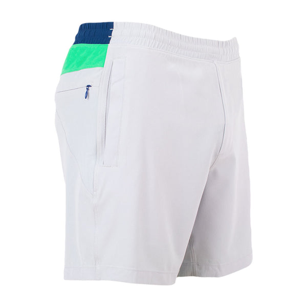 Gym Shorts Scuttlebuttz Light Gray Green Navy Birddogs Front Right Hip