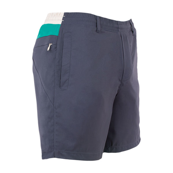 Birddogs The Virgin Marks Blue Green White Khaki Gym Shorts Green Liner Front Right Hip