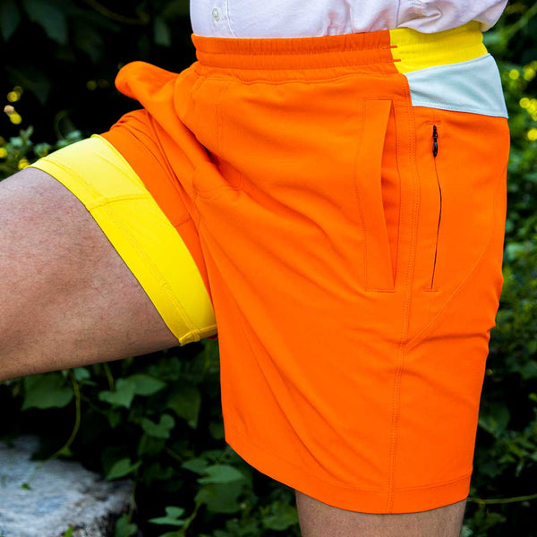 Birddogs The Creamsicles Orange Blue Yellow Gym Shorts Yellow Liner Lifestyle Liner Shot Preorder
