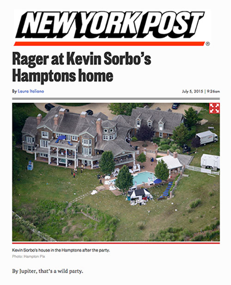 Rager at Kevin Sorbos Hamptons home