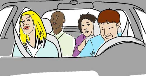 4 people in a car, awkwardly sitting.