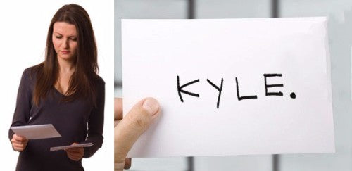 index card that says Kyle