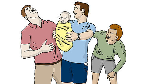 fully grown men holding baby