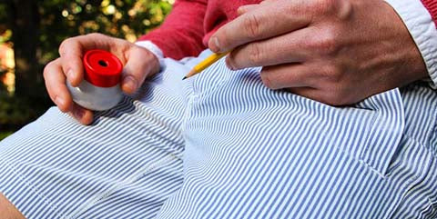 Birddogs seersucker shorts with pencil sharpener