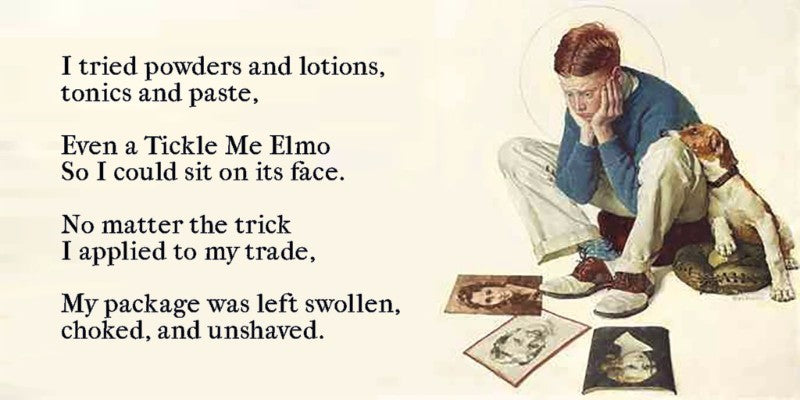 I tried powders and lotions, tonics and paste, even a Tickle Me Elmo so I could sit on its face. No matter the trick, I applied to my trade, my package was left swollen, chocked, and unshaved.
