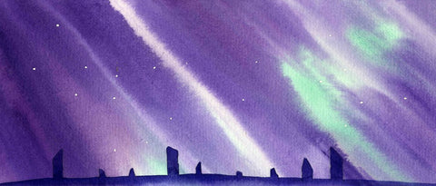 Northern Lights over the Ring of Brodgar Watercolour by Jane Glue