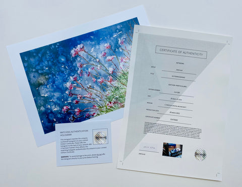 Picture of Glittering Sea Pinks Print with certificate