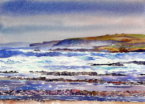 Watercolour by Jane Glue of Rainstorm over North Birsay