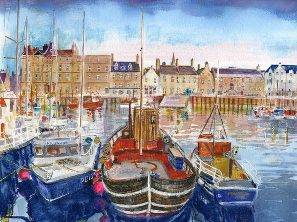 Kirkwall harbour with boats