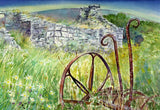 Old farm machinery and cottage ruin, Rousay