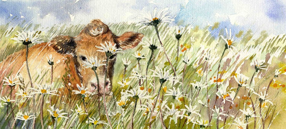 Cow in a wildflower field