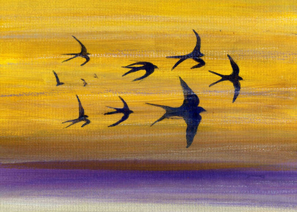 A Flight of swallows in the sunset