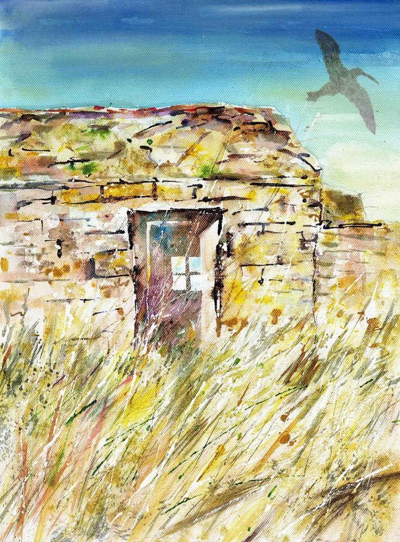 Old ruin with curlew