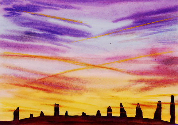 Wild sunset at The Ring of Brodgar