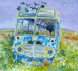 Blackbirds and old bus in Hoy