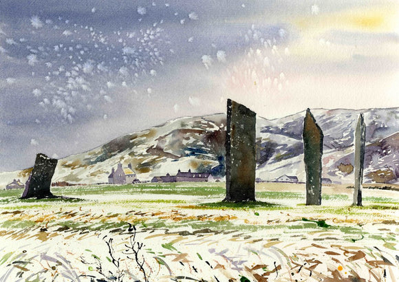 The standing stones in the snow