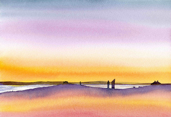 Purple sunset with the standing stones of Stenness, Orkney