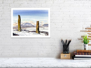Snow and stones, Brodgar, Orkney