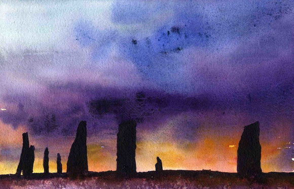 Dark sunset at the ring of brodgar in Orkney