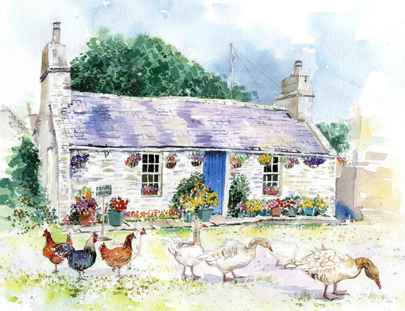 Cottage with Hens and geese