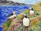 Framed Curious Puffins