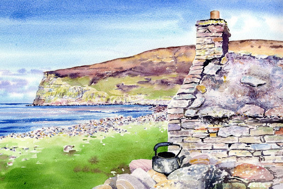 Old kettle and cottage, Rackwick Bay, Hoy