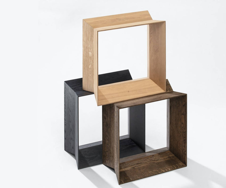 REFEX stool, black stained matt lacquer