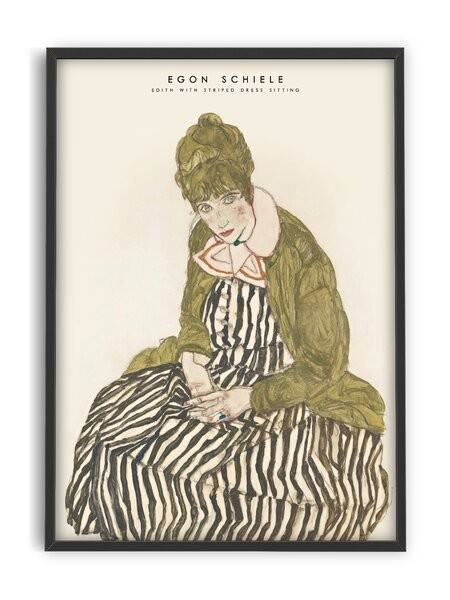 Egon Schiele - Edith with striped dress - Interia design AB