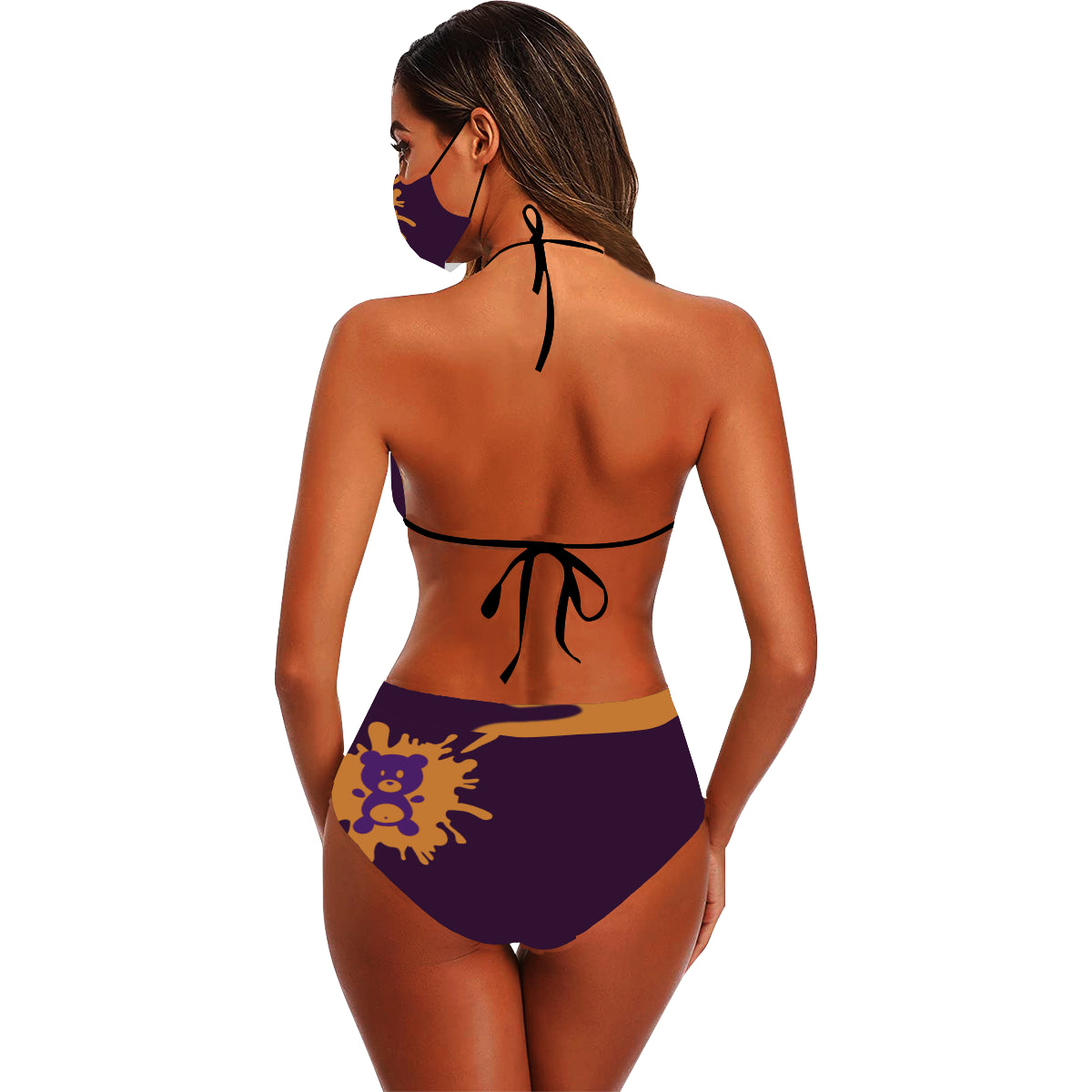 Frass Da Bear Stringy Selvedge Bikini Set with Mouth Mask