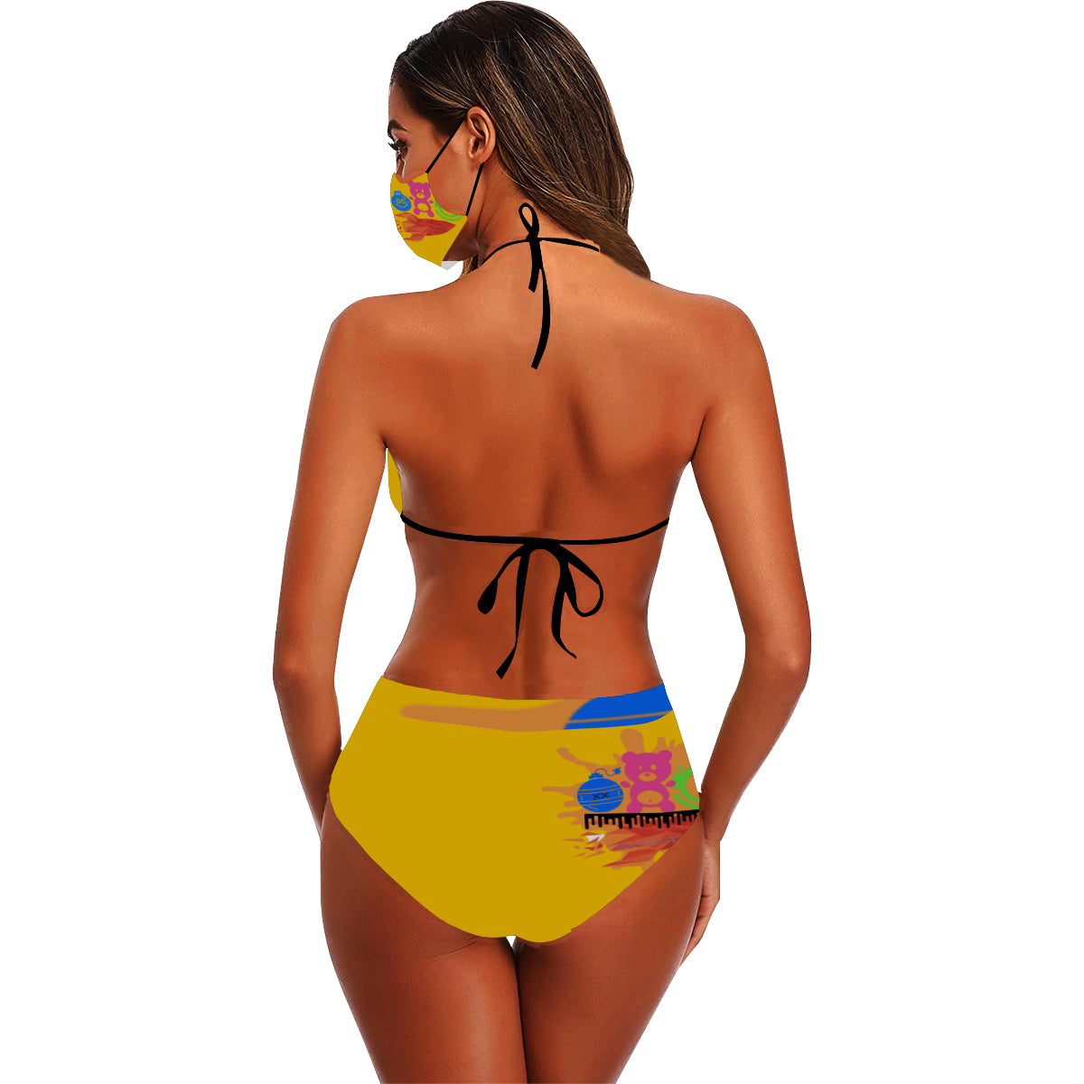 Hendriix Homies WORLD Debut Bikini Stringy Selvedge Bikini Set with Mouth Mask