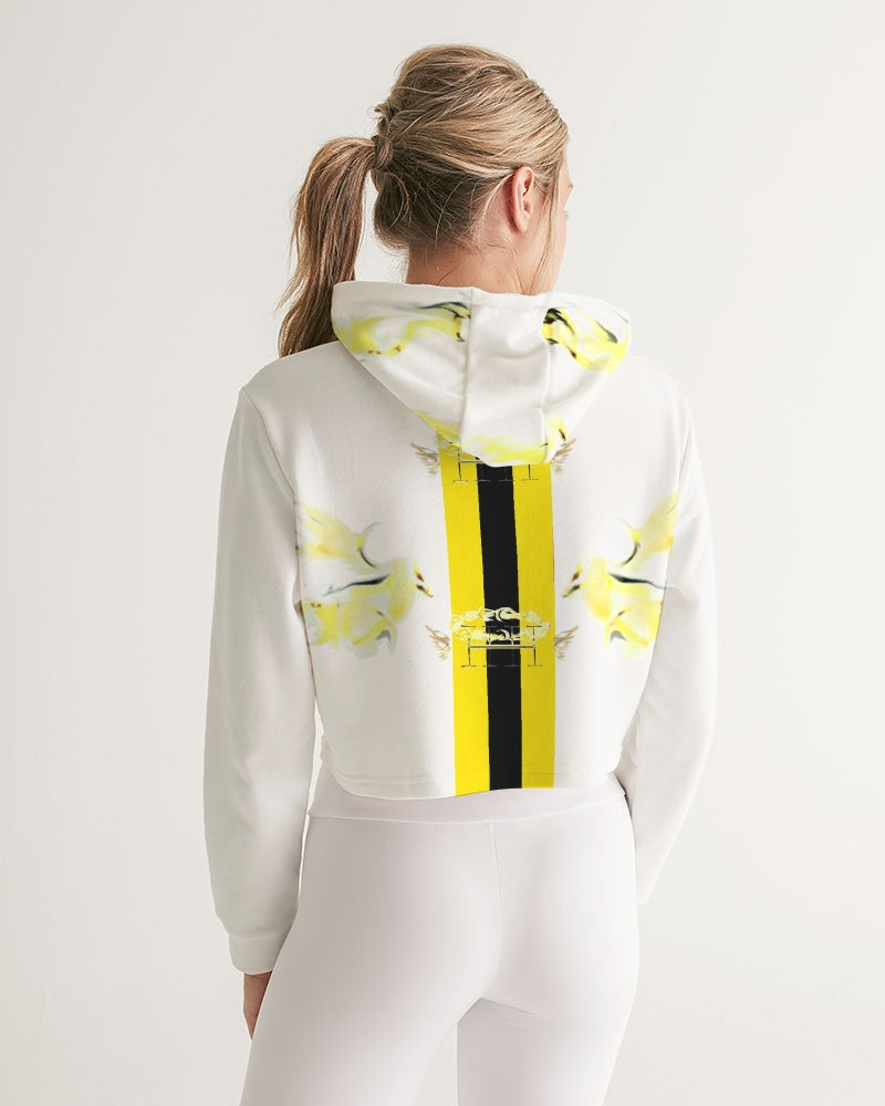 Flocks in Yellow Women's Cropped Hoodie
